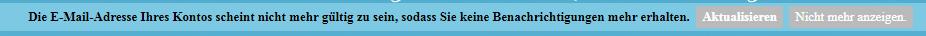 E-Mail Adresse ungültig - Benachrichtigung von Forumieren Unknow10