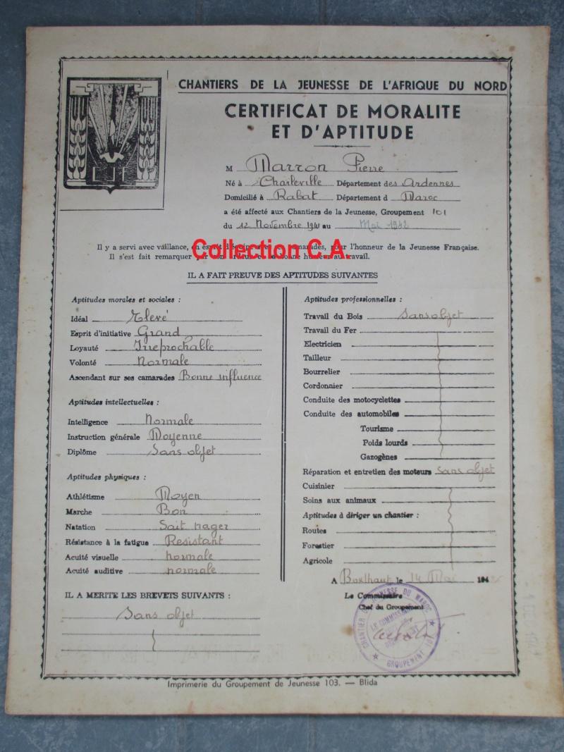 Le certificat de moralité et d'aptitude des Chantiers de Jeunesse (Régime Vichy) Img_6329