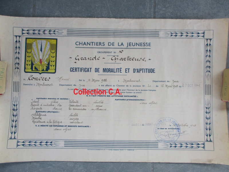 Le certificat de moralité et d'aptitude des Chantiers de Jeunesse (Régime Vichy) Img_6335