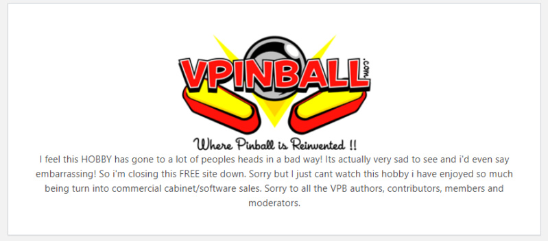 [INFO] VPINBALL - c'est fini ?!? Vp00110