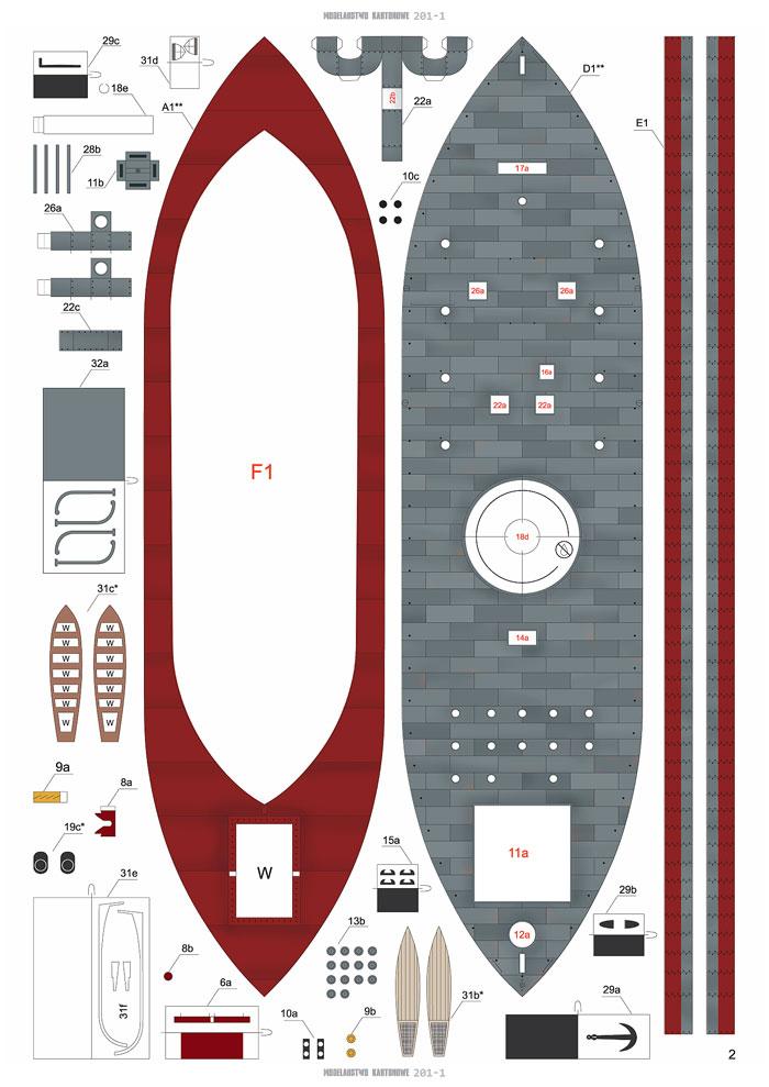 USS MONITOR 1/200 de MODELARSTWO KARTONOWE 22893_10