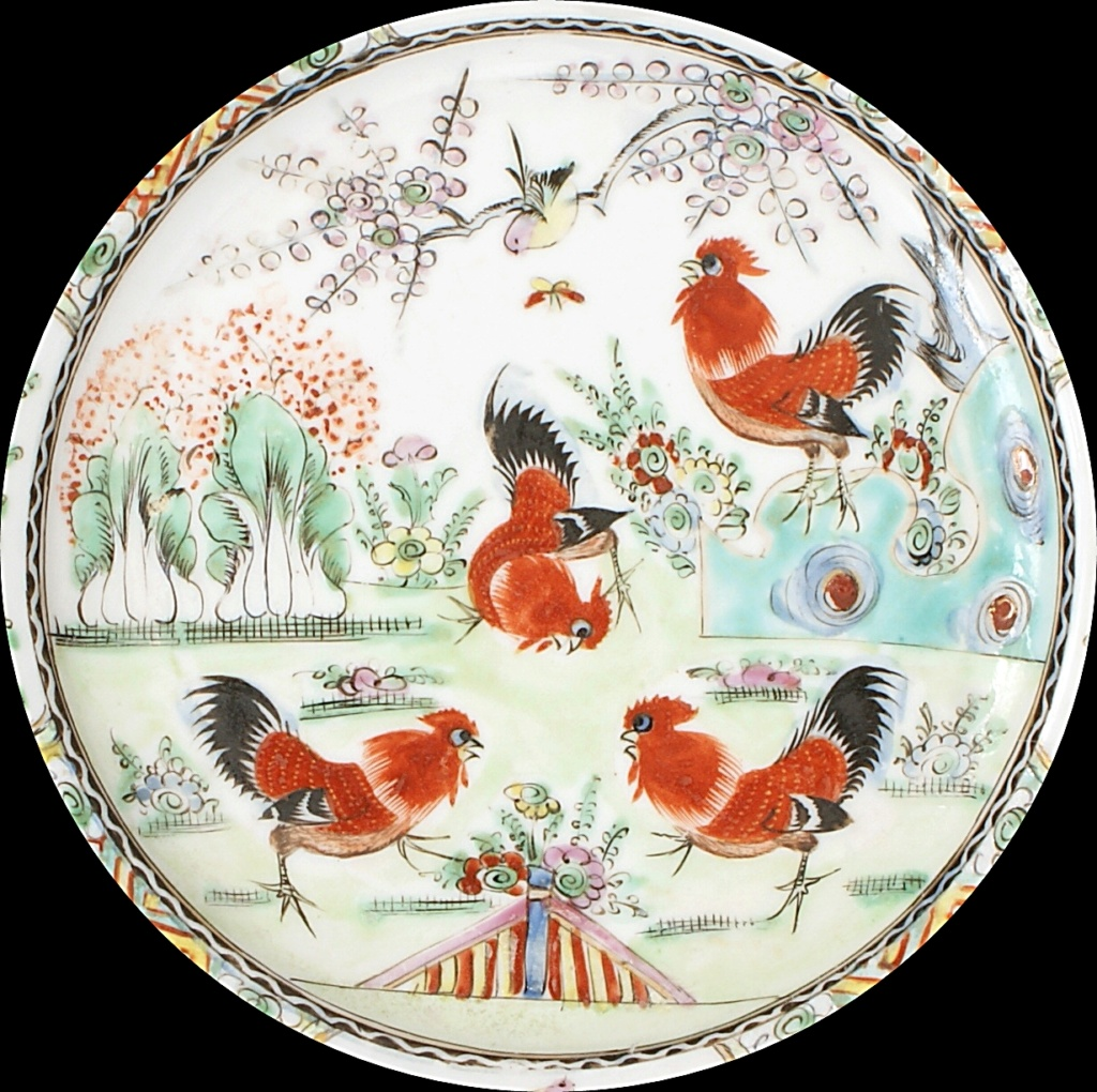 Pair Of Chinese Plates Depicting A Group Of Cockerels.  Dsc04413