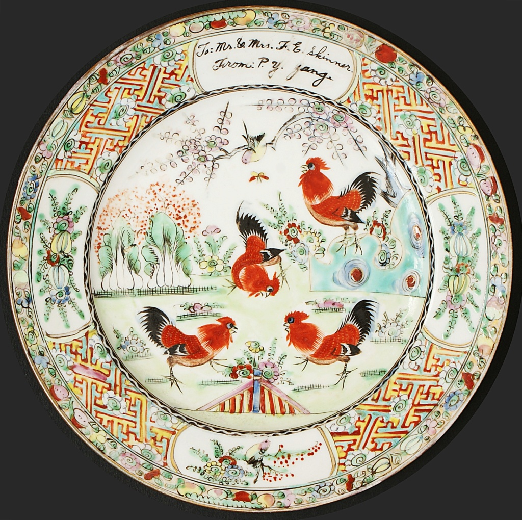 Pair Of Chinese Plates Depicting A Group Of Cockerels.  Dsc04414