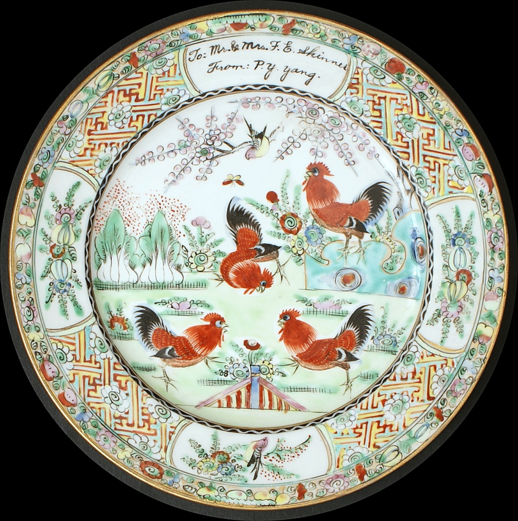 Pair Of Chinese Plates Depicting A Group Of Cockerels.  Dsc04419