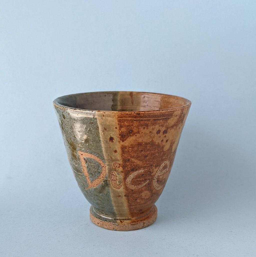 Wax Resist mottoware Pottery Beaker: Roll Them Dice Pxl_2046