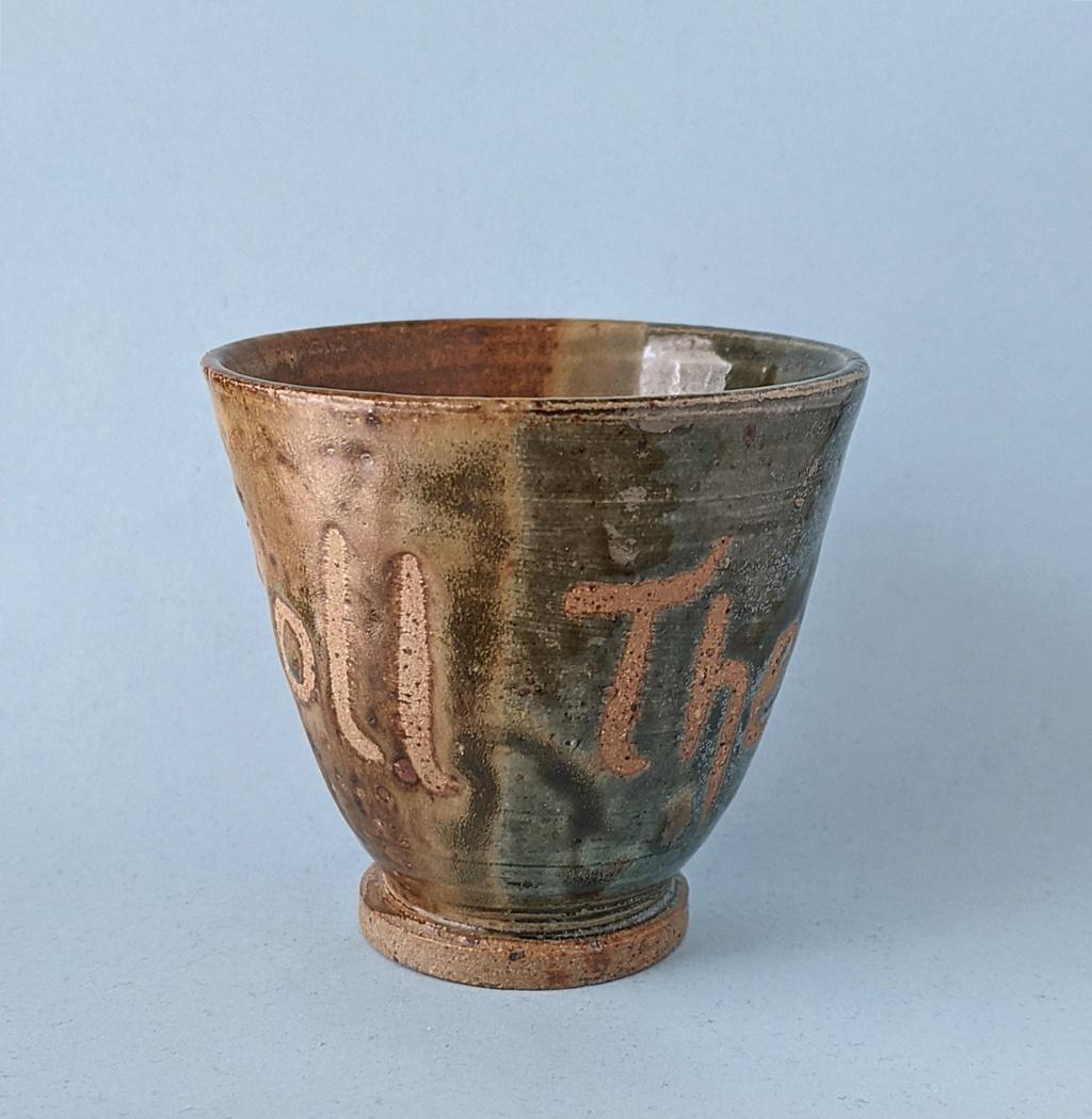 Wax Resist mottoware Pottery Beaker: Roll Them Dice Pxl_2047