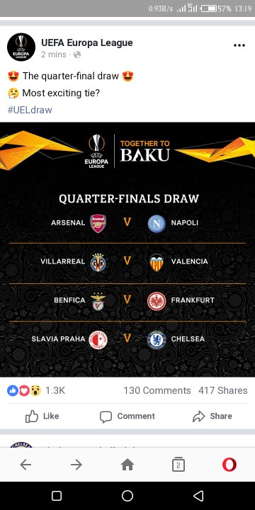 UEFA Europa League Quarter Final Fixtures 89876110