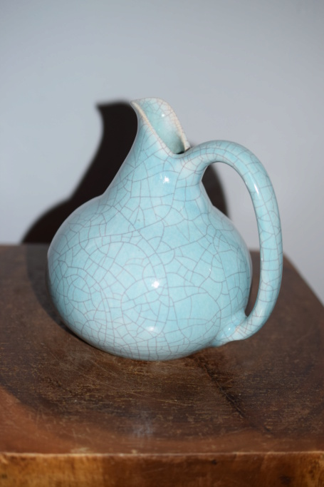 Crackle glaze pottery jug, JXXX mark - European?  Dsc_0225