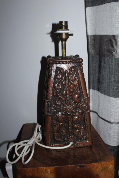 Large heavy pottery lamp Img_4114