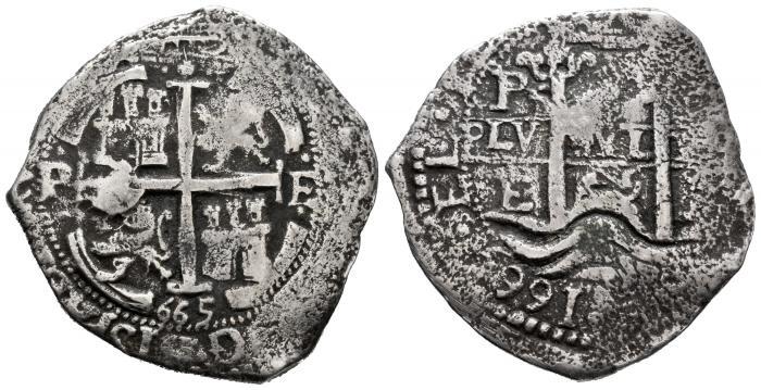 8 Reales Felipe IV ceca Potosí 1665. Pecio desconocido. 001-1110