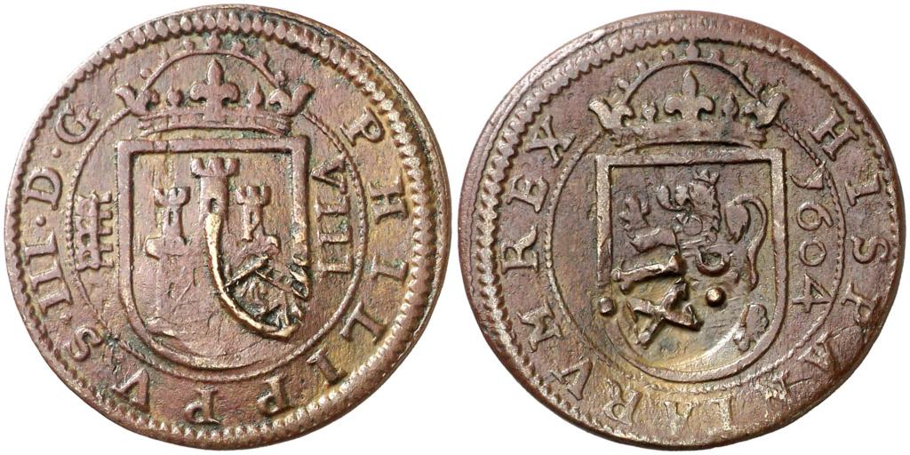 8 MARAVEDÍES FELIPE III 1604 CECA DE SEGOVIA Y RESELLO A XII DE GRANADA 095110