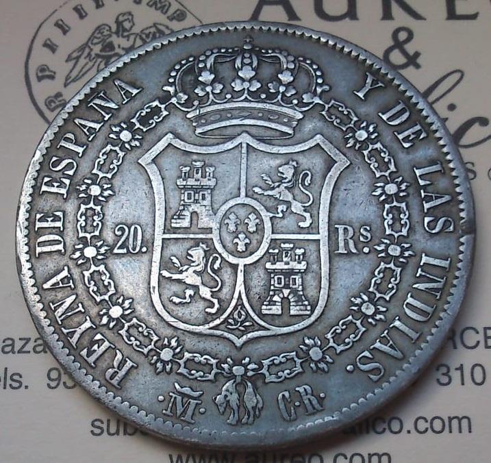 20 reales Isabel II Madrid 1836 Ensayadores: CR. José Luis Castroviejo e Isidro Ramos del  122