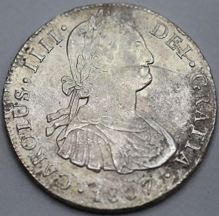 España. Carlos IV (1788-1808). 8 Reales 1807 POTOSÍ* EROSIONES MARINAS * 123