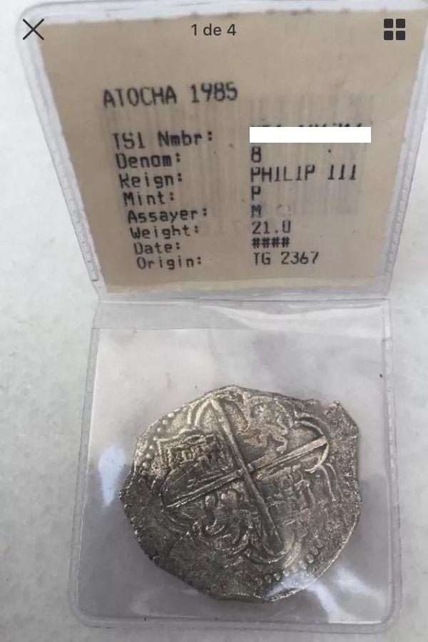 8 reales. Felipe III. Procedentes del pecio Nuestra Señora de Atocha 124