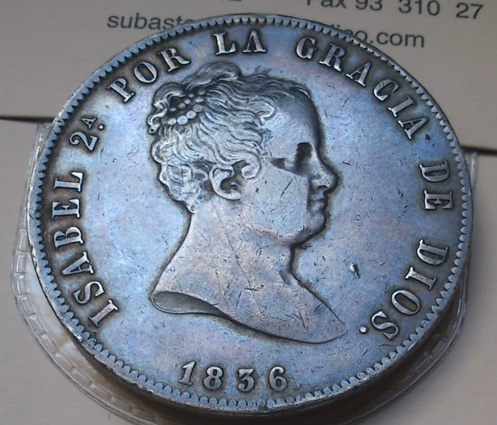 20 reales Isabel II Madrid 1836 Ensayadores: CR. José Luis Castroviejo e Isidro Ramos del  221