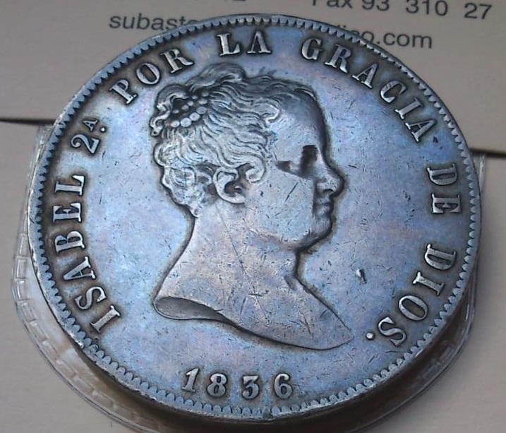 20 reales Isabel II Madrid 1836 Ensayadores: CR. José Luis Castroviejo e Isidro Ramos del  222
