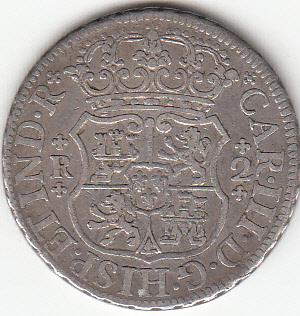 2 reales Carlos III 1766 Mexico. 2a10