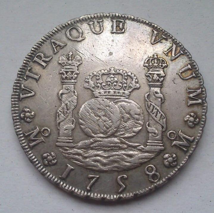 8 reales Fernando VI. México. 1758. Columnario. 310