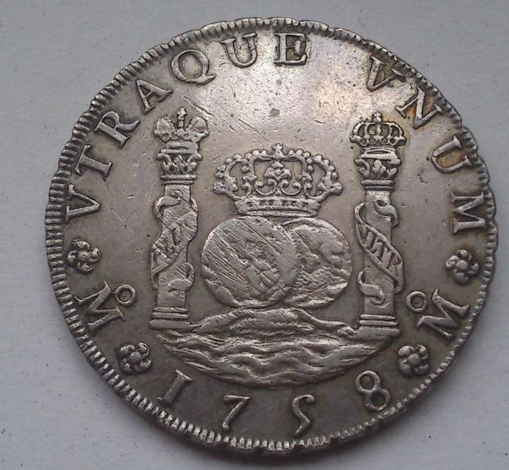 8 reales Fernando VI. México. 1758. Columnario. 510