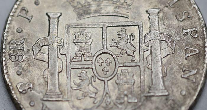 España. Carlos IV (1788-1808). 8 Reales 1807 POTOSÍ* EROSIONES MARINAS * 610