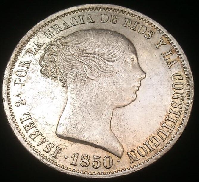 Isabel II (1833-1868). 20 reales. 1850. Madrid. CL Anvers10