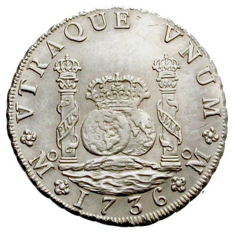 8 REALES TIPO COLUMNARIO FELIPE V CECA DE MEXICO 1736 ENSAYADORES MF Anvers13