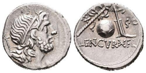 Denario de la gens Cornelia. CN LENT Q - EX - S C. Globo, timón, cetro y corona. Hispania. Hispania. Fb_img21