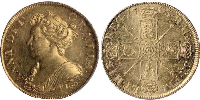 Dos monedas británicas de Vigo de 1703 salen a subasta por casi un millón de euros Moneda11