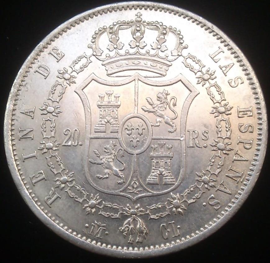 Isabel II (1833-1868). 20 reales. 1850. Madrid. CL Revers10