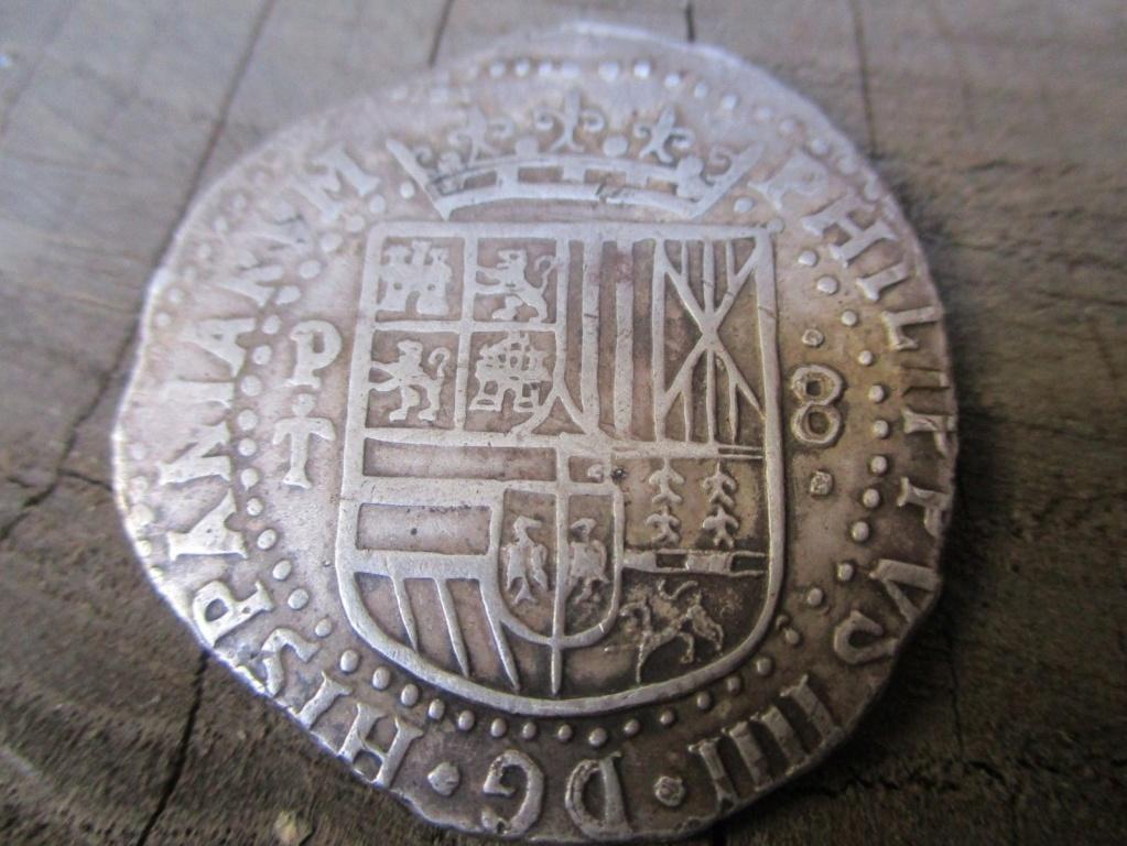 Spanish Colonial Potosí Bolivia SIlver 8 Reales Cob Coin Felipe IIII 1643 S-l16014