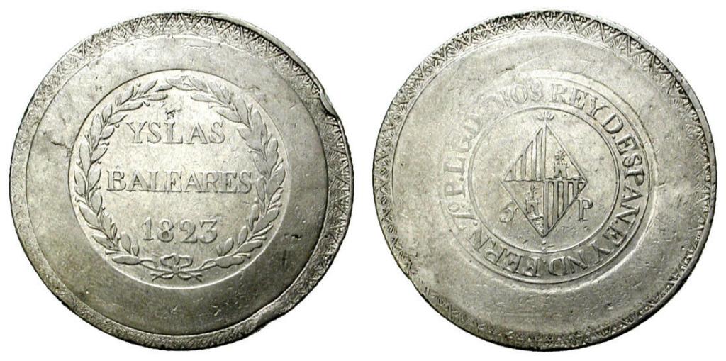 5 pesetas 1823. Fernando VII. Islas Baleares  S-l16051
