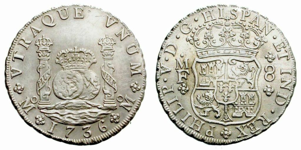8 REALES TIPO COLUMNARIO FELIPE V CECA DE MEXICO 1736 ENSAYADORES MF S-l16053