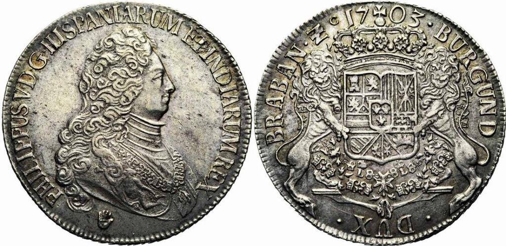 DUCATON  de Felipe V Brabante (Amberes) 1703 Tres10