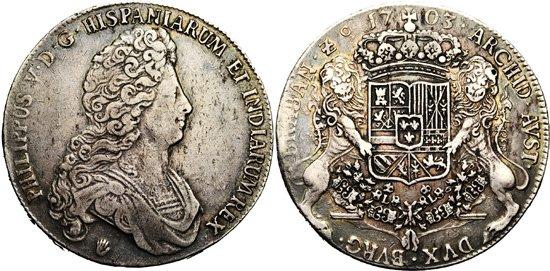DUCATON  de Felipe V Brabante (Amberes) 1703 Uno10