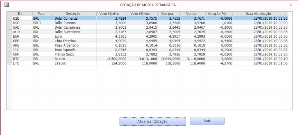 Vincular cotação da moeda da WEB ao banco de dados Cotaca10