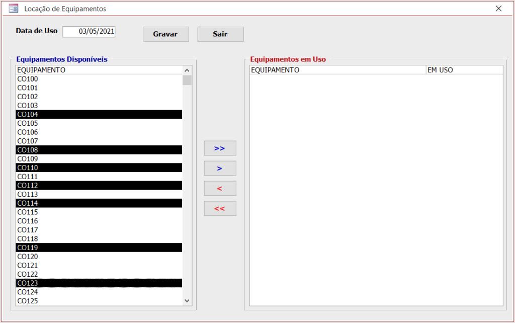 [Resolvido]Lançamentos Utilizando Caixa de Listagem Multipla Equip110