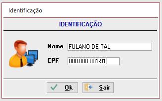 Primeiro acesso formulário gravar nome do usuário Identi10
