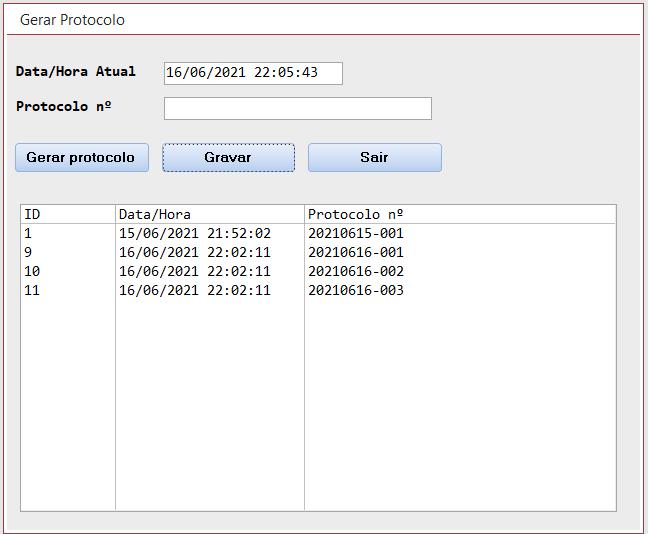 """[Resolvido]Numero de protocolo com data do dia mais uma numeração automática sequencial que no dia seguinte recomece por """"001"""" Protoc10"""