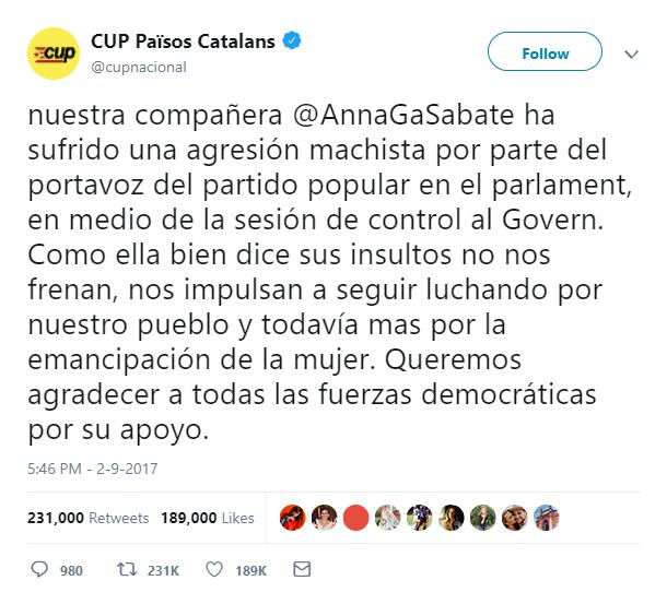 RRSS de la Candidatura d'Unitat Popular Tweet-10