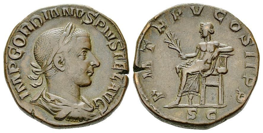 Sestercio de Gordiano III Pío. P M TR P IIII COS II P P - S C. Apolo sendente a izq. Roma. 17571010