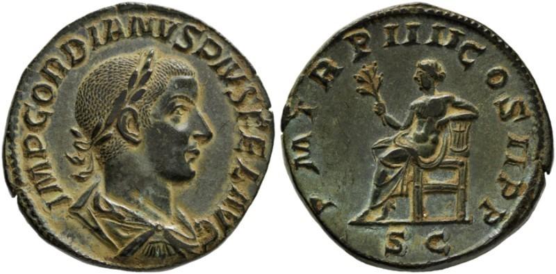 Sestercio de Gordiano III Pío. P M TR P IIII COS II P P - S C. Apolo sendente a izq. Roma. 17571012