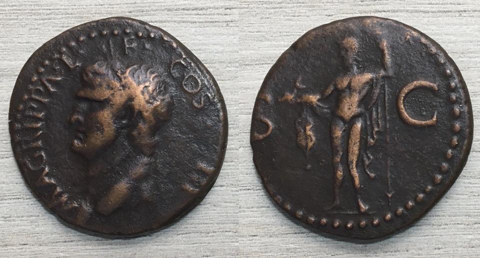 As de Calígula, M AGRIPPA L F COS III, Roma, 37 - 41 dC. Agripp12