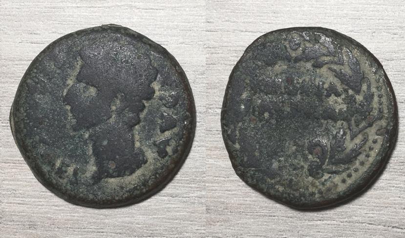 As de Colonia Patricia, época de Augusto. COLONIA PATRICIA dentro de corona. August14