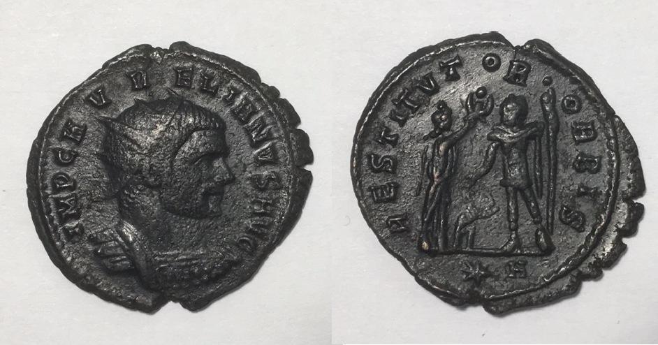 Antoniniano de Aureliano. RESTITVTOR ORBIS. Mujer y emperador. Cyzicus. Aureli10
