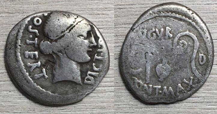 Denario de Julio César, COS TERT DICT ITER / AVGVR PONT MAX D, Utica? 46 a.C. Cesar_10