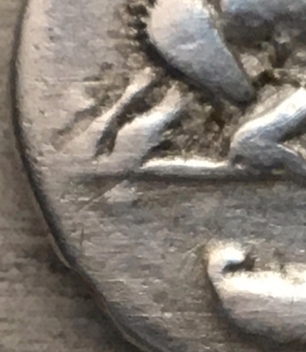 Denario fundido de Domiciano, COS V, loba y gemelos Domici19