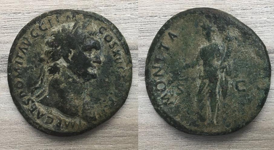 As de Domiciano. MONETA AVGVSTI - S C. Moneta estante a izq. Roma. Domici20