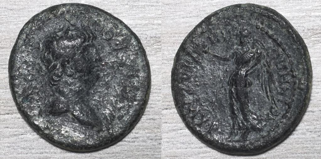 AE17 de Nerón, NEIKHN ΠOΠΠAIA ZMYΡ, Smyrna, 62-65 dC. Neron_13