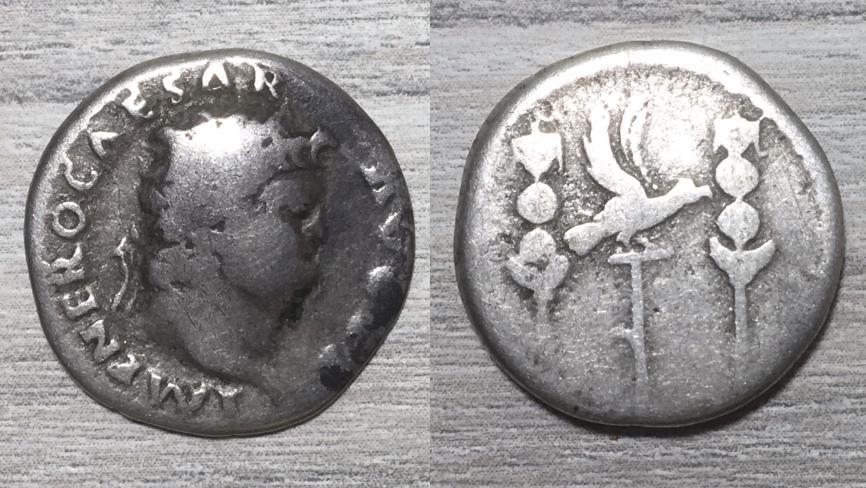 Denario de Nerón. Águila legionaria entre estandartes. Roma. Nerzn_14