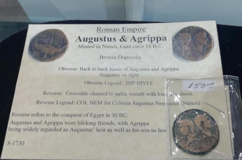 Dupondio de Augusto y Agrippa. COL NEM. Cocodrilo encadenado a una palmera. Nîmes Nimes10